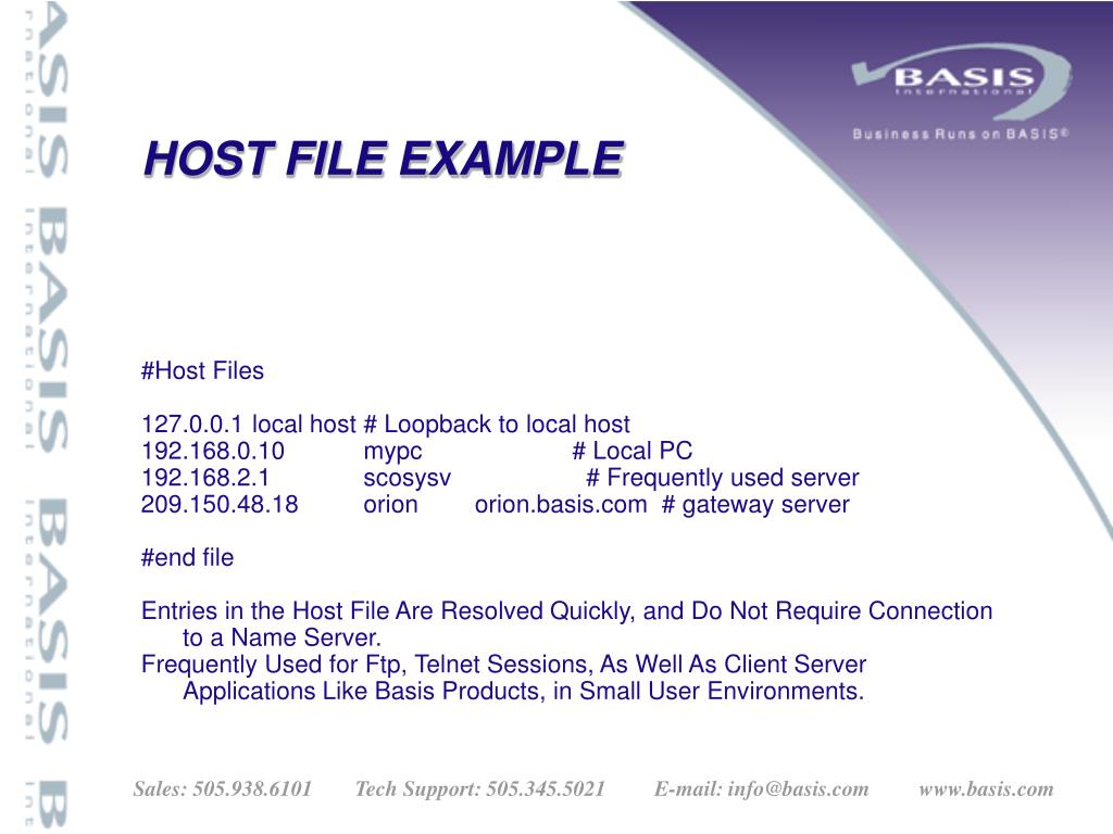 HOST FILE EXAMPLE