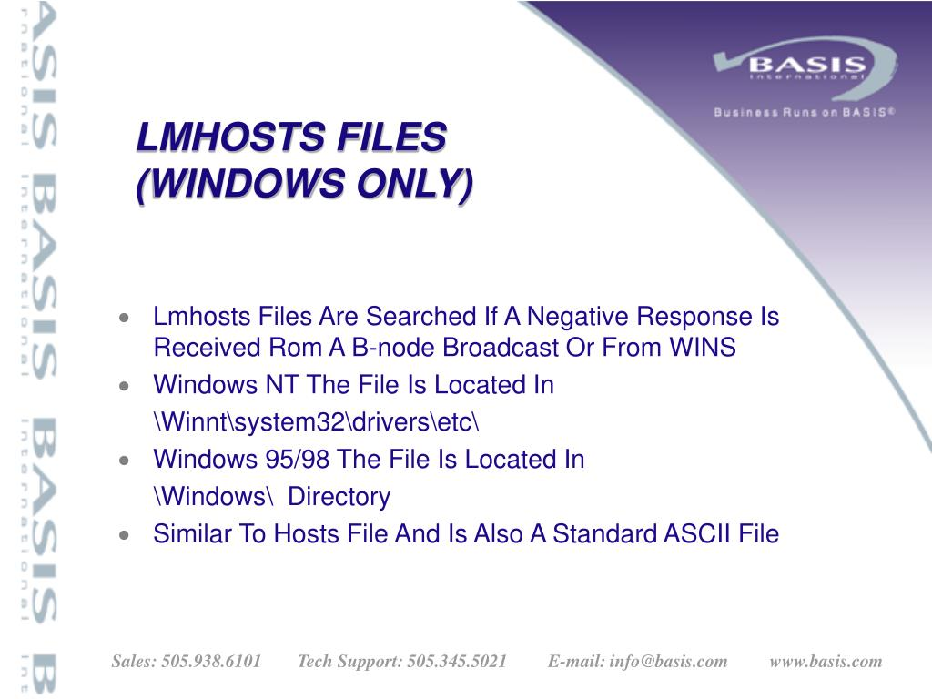 LMHOSTS FILES
