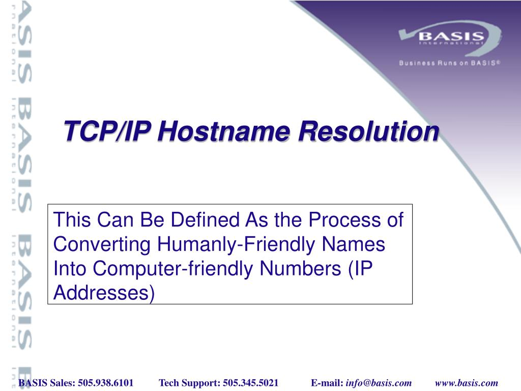 This Can Be Defined As the Process of Converting Humanly-Friendly Names Into Computer-friendly Numbers (IP Addresses)