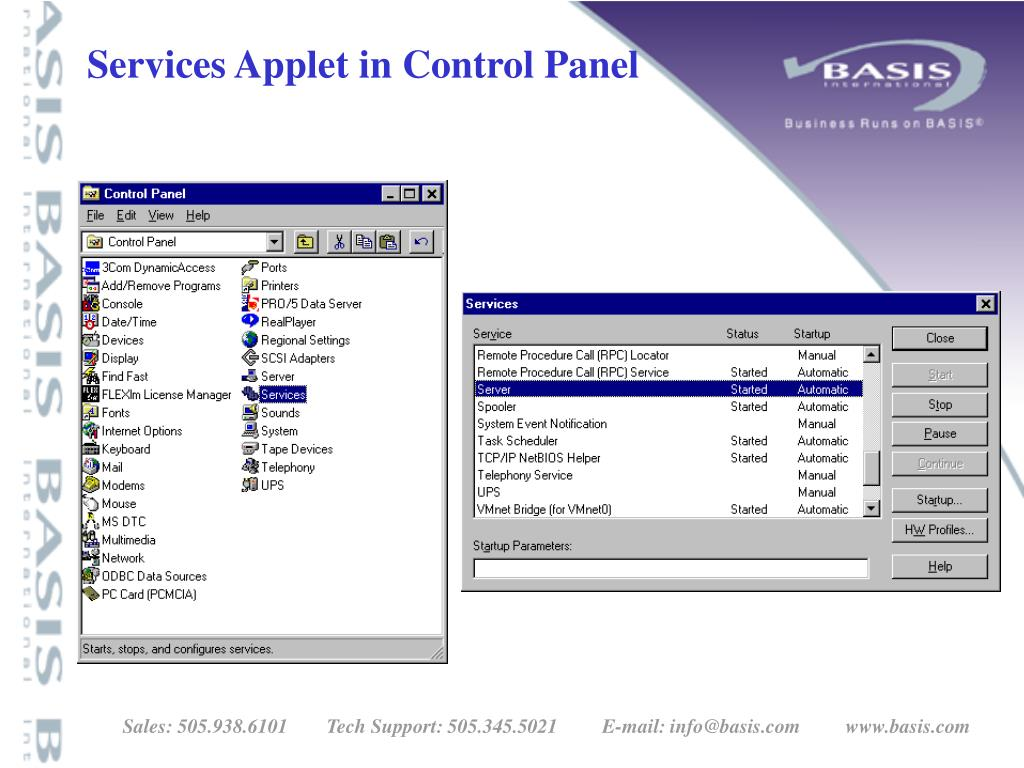 Services Applet in Control Panel