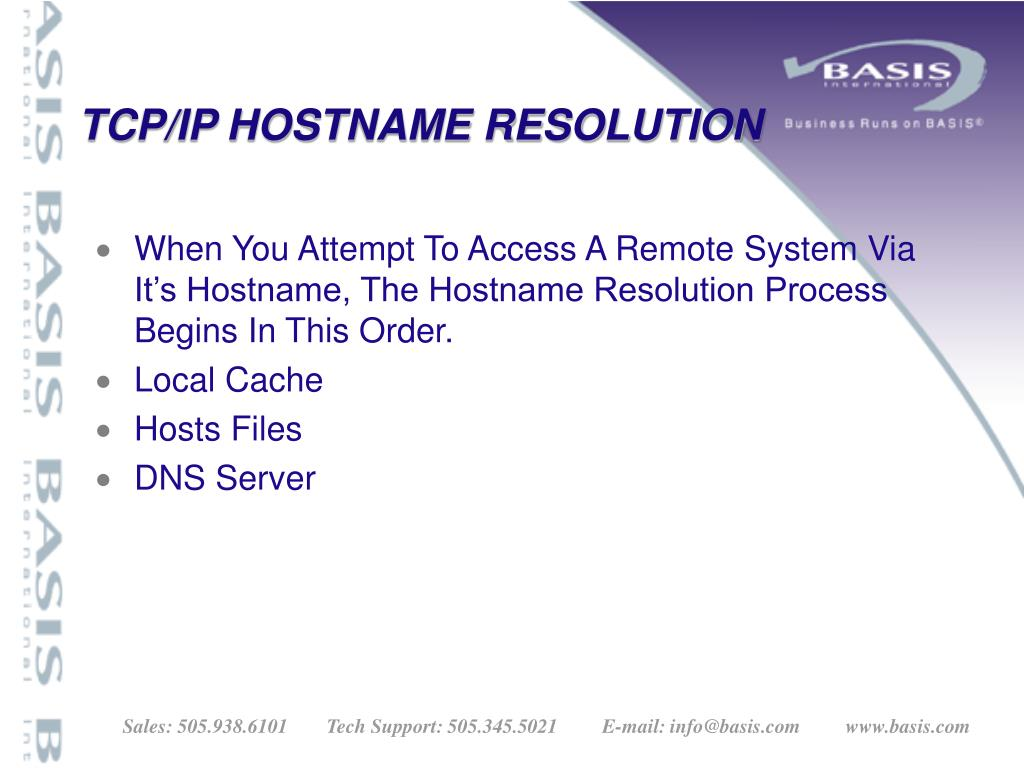 TCP/IP HOSTNAME RESOLUTION