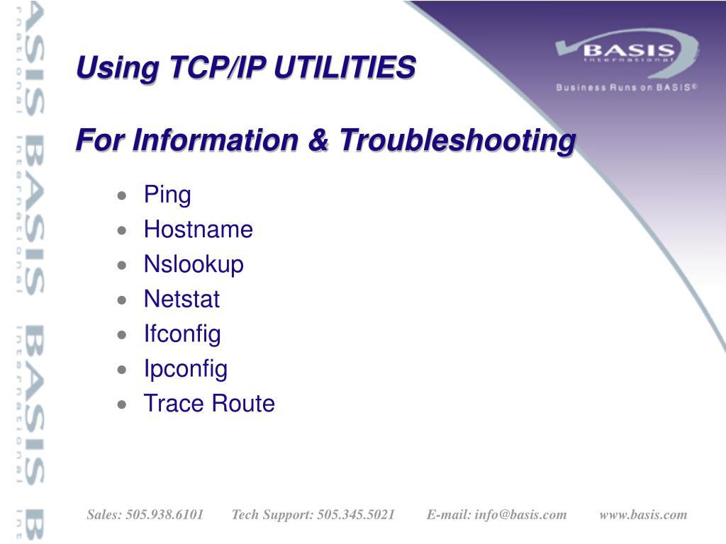 Using TCP/IP UTILITIES