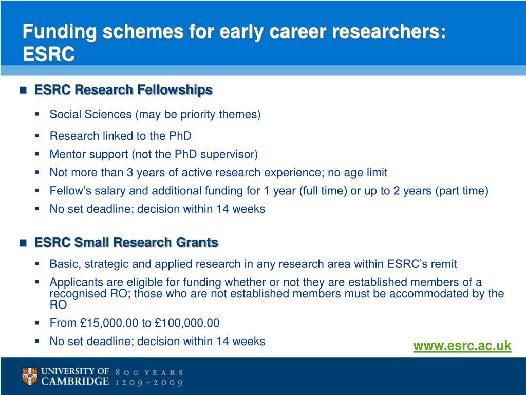 Funding schemes for early career researchers: