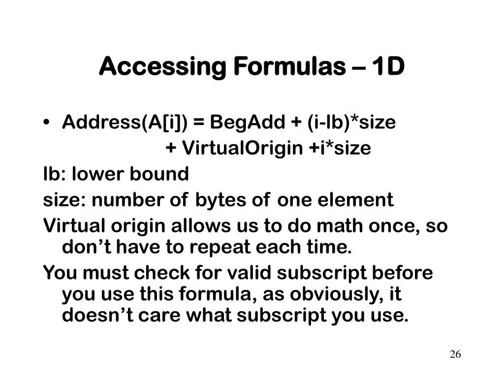 Accessing Formulas – 1D