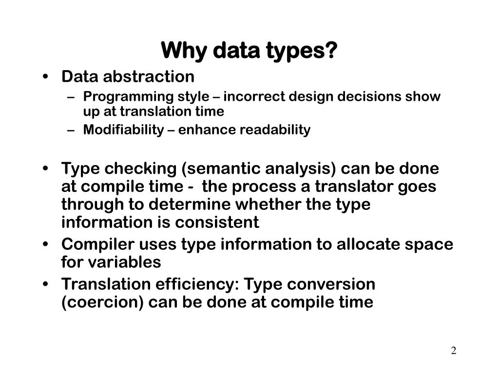 Why data types?