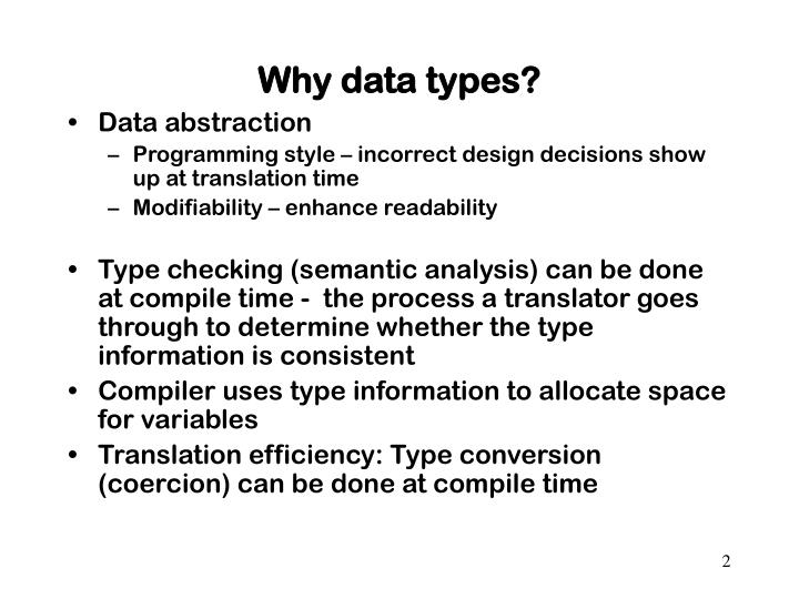 Why data types