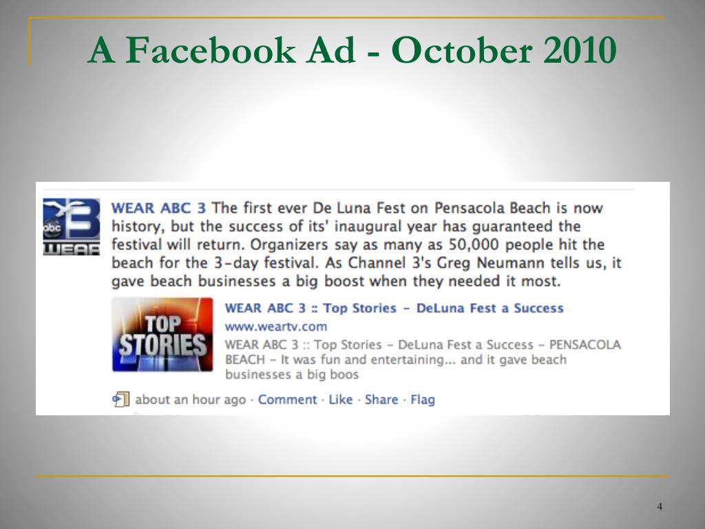 A Facebook Ad - October 2010