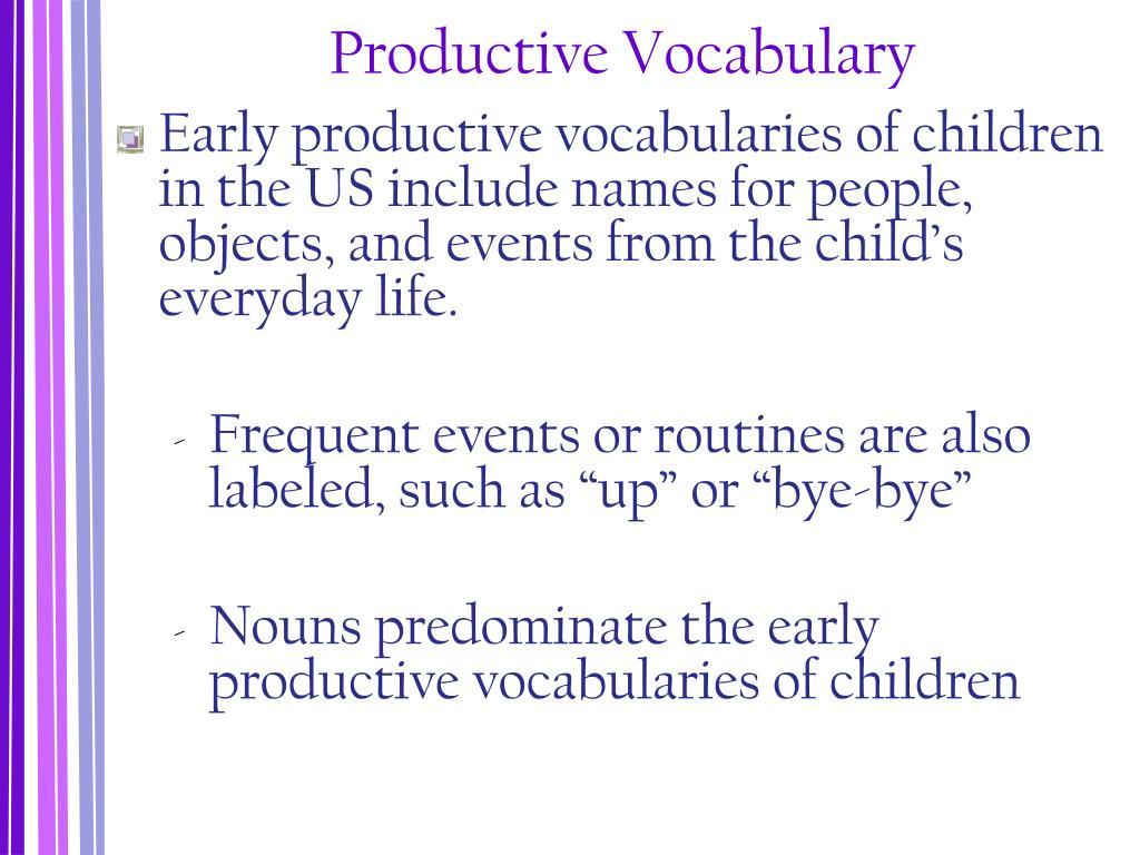 Productive Vocabulary