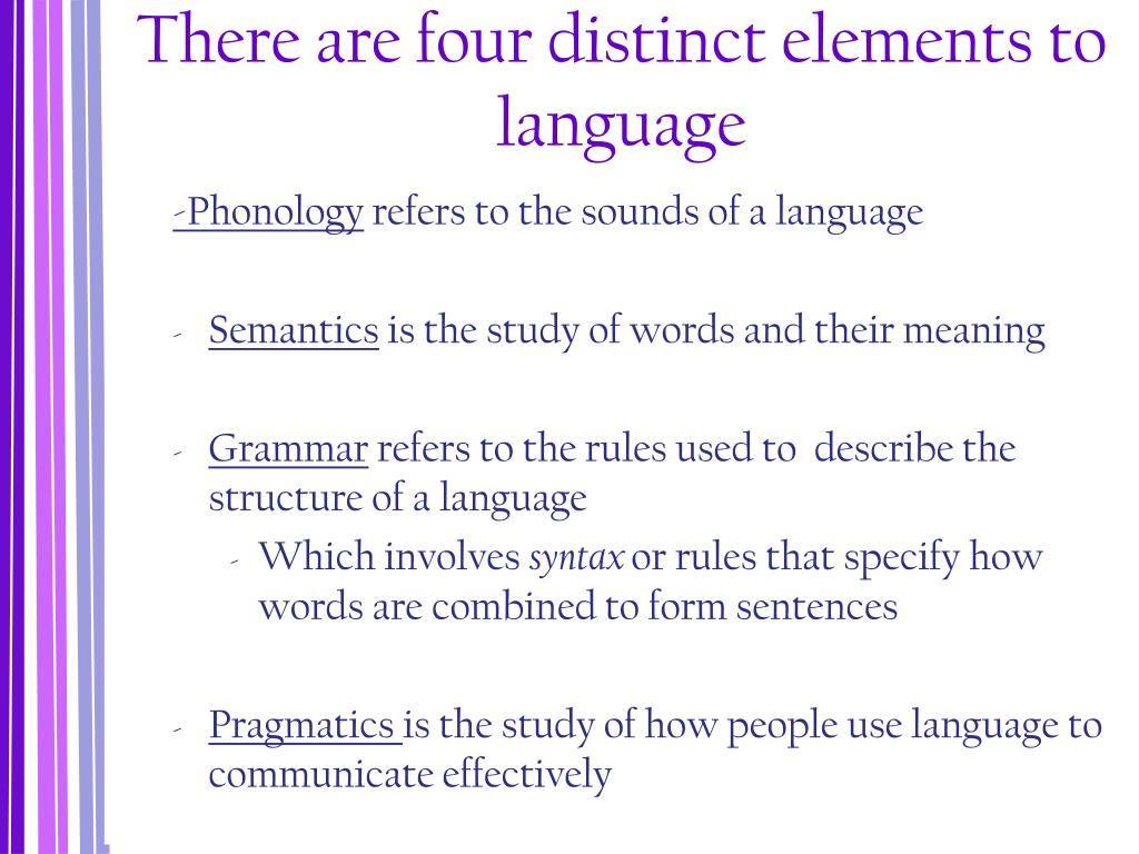 There are four distinct elements to language