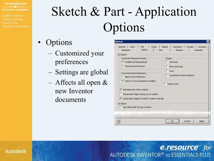 Sketch part application options