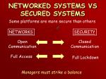networked systems vs secured systems