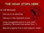 the hoax stops here