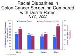 racial disparities in colon cancer screening compared with death rates nyc 2002