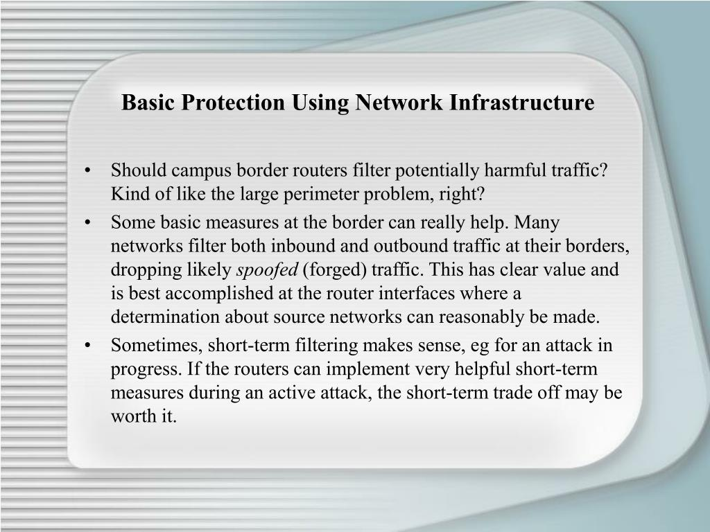 Basic Protection Using Network Infrastructure