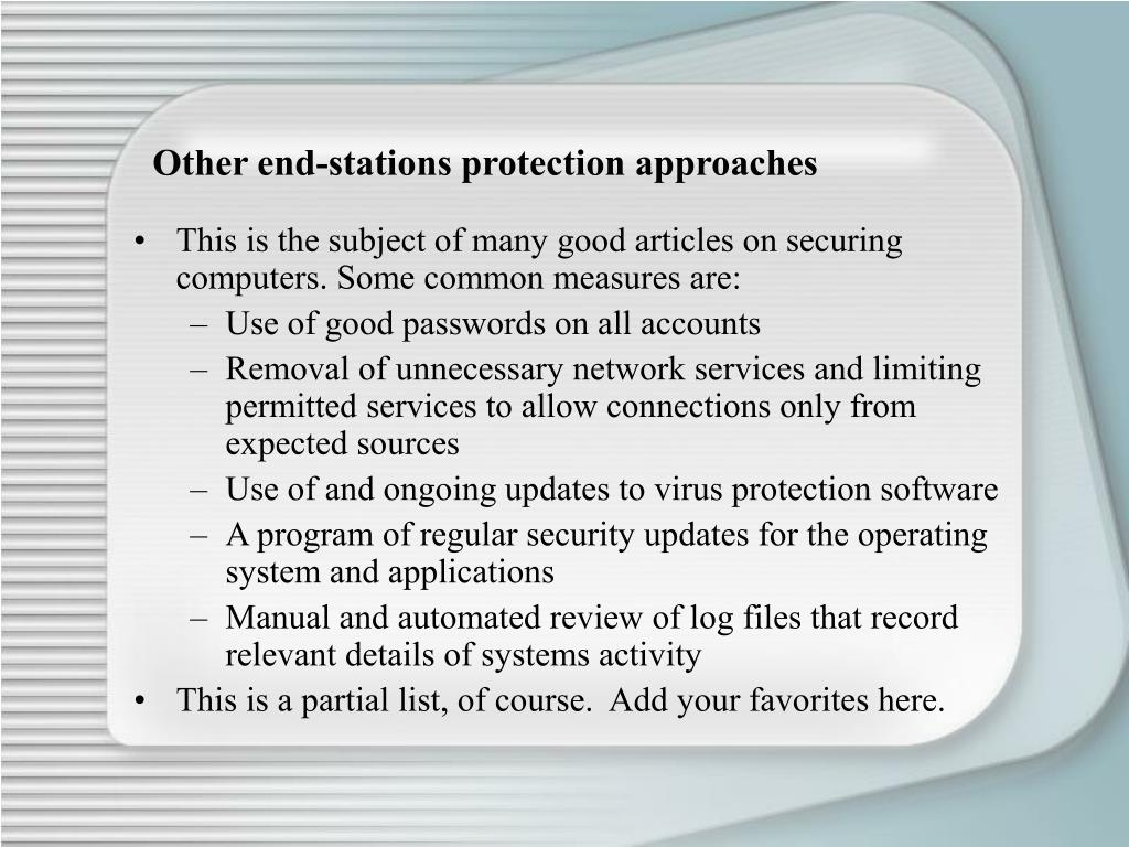 Other end-stations protection approaches