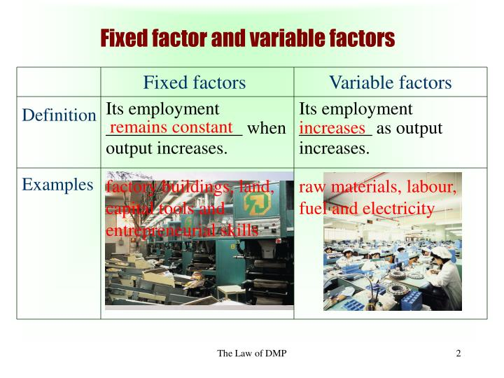 Fixed factor and variable factors