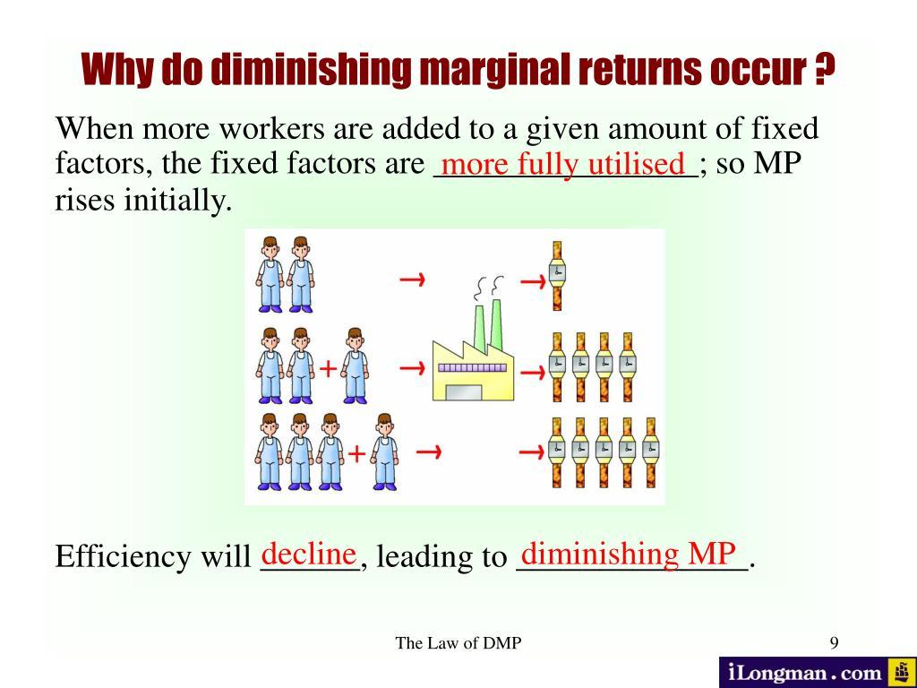 Why do diminishing marginal returns occur ?