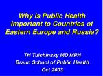 why is public health important to countries of eastern europe and russia