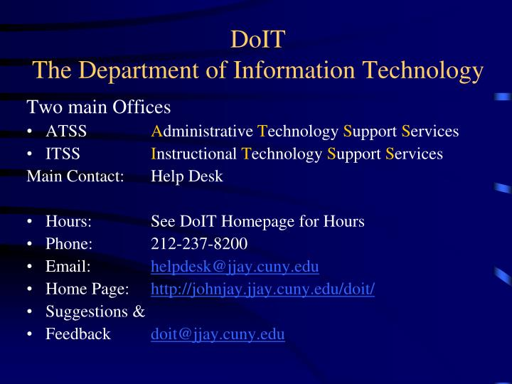 Doit the department of information technology