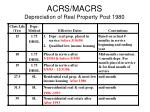 acrs macrs depreciation of real property post 1980
