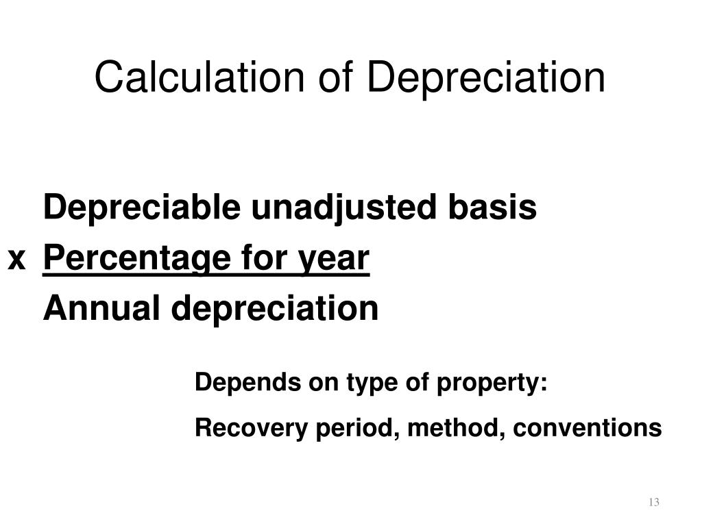 Calculation of Depreciation