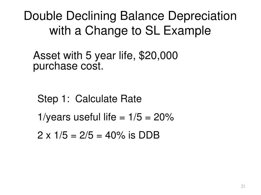 Double Declining Balance Depreciation with a Change to SL Example