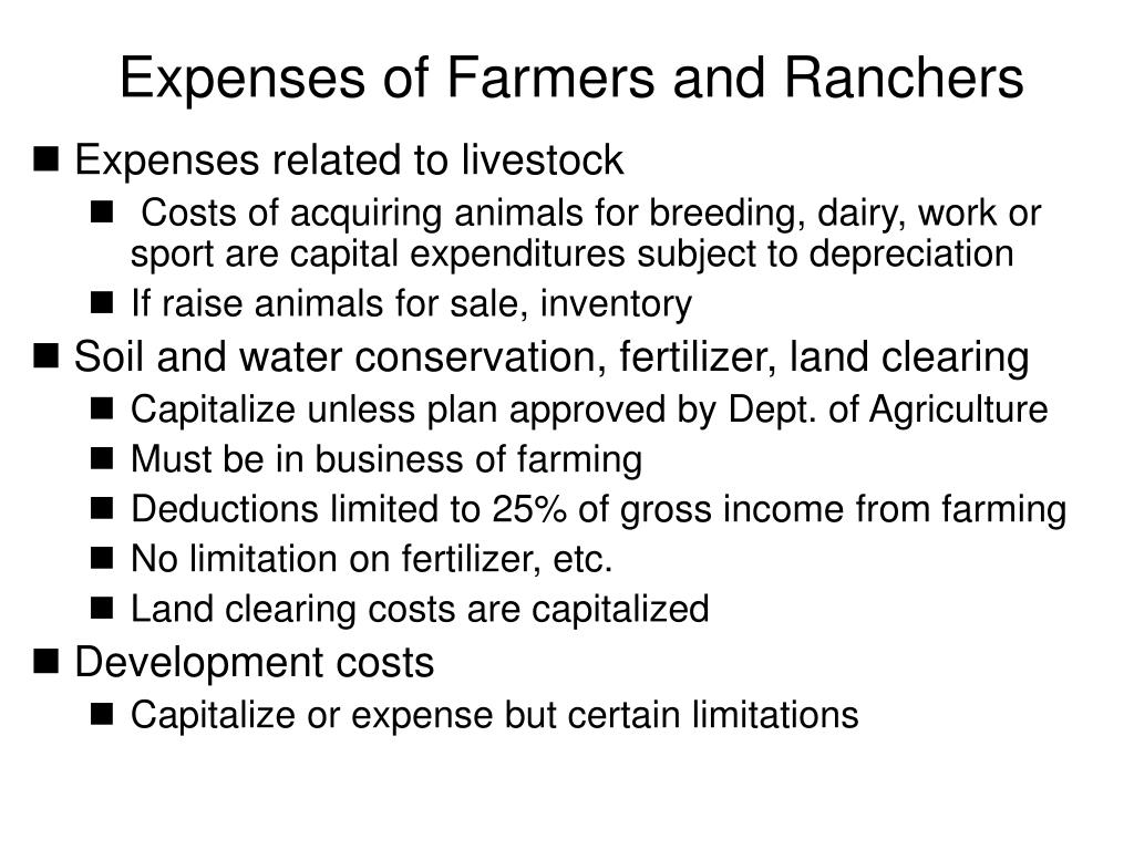 Expenses of Farmers and Ranchers