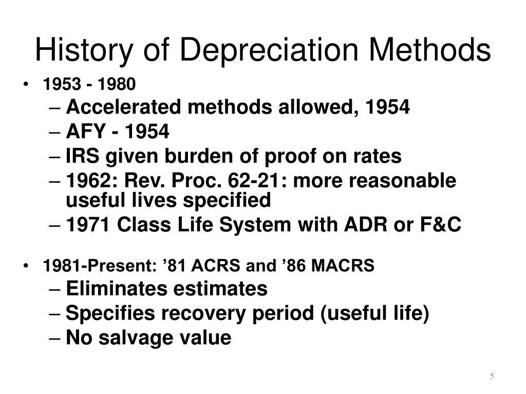 History of Depreciation Methods