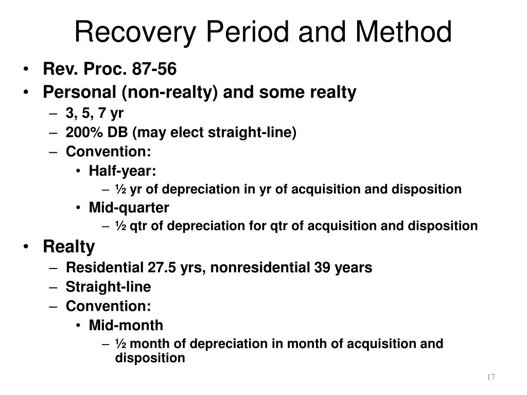 Recovery Period and Method