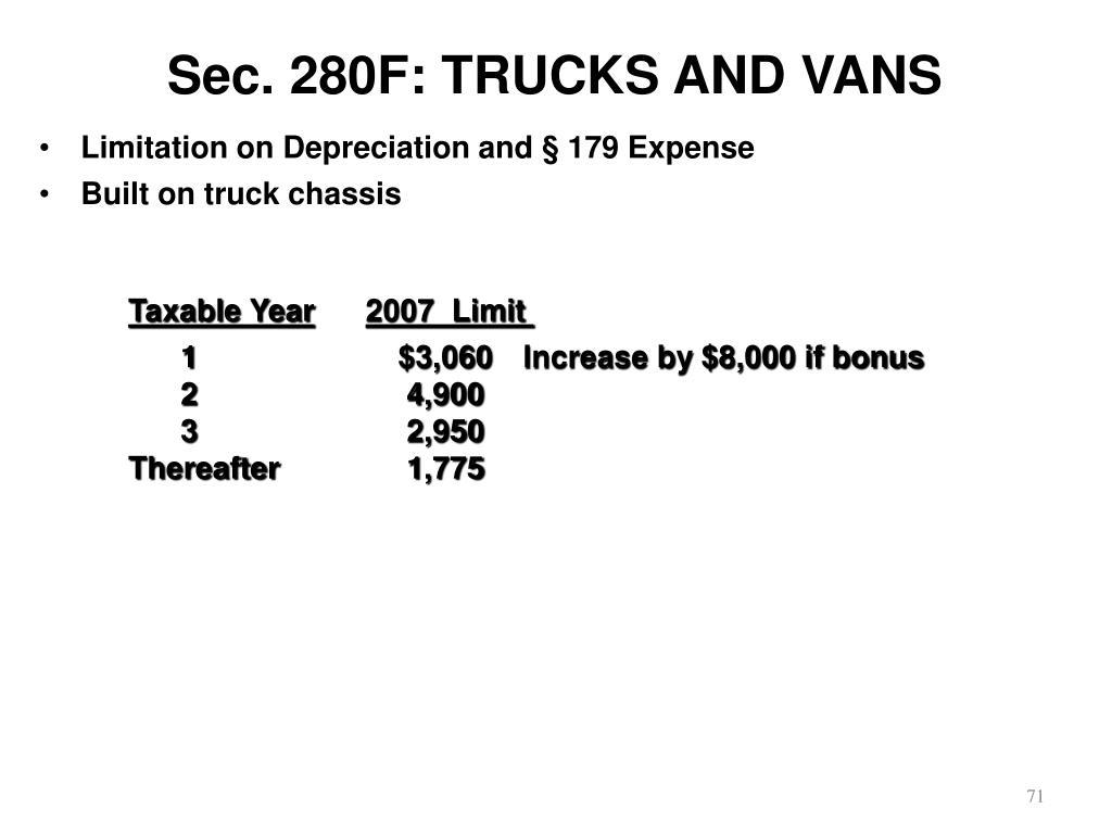 Sec. 280F: TRUCKS AND VANS