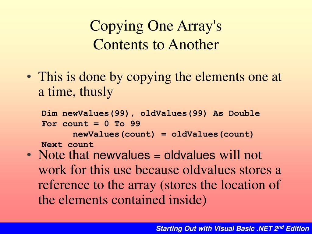 Copying One Array's