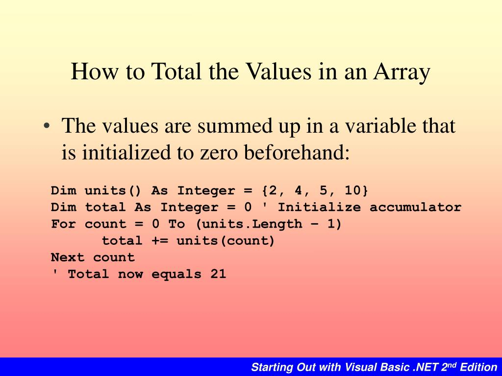 How to Total the Values in an Array