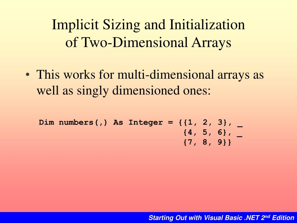 Implicit Sizing and Initialization
