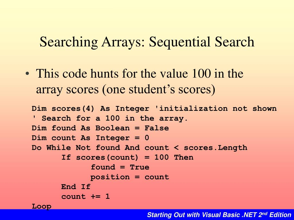 Searching Arrays: Sequential Search