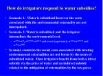 how do irrigators respond to water subsidies