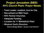 project jerusalem bbs nyc church plant prayer needs