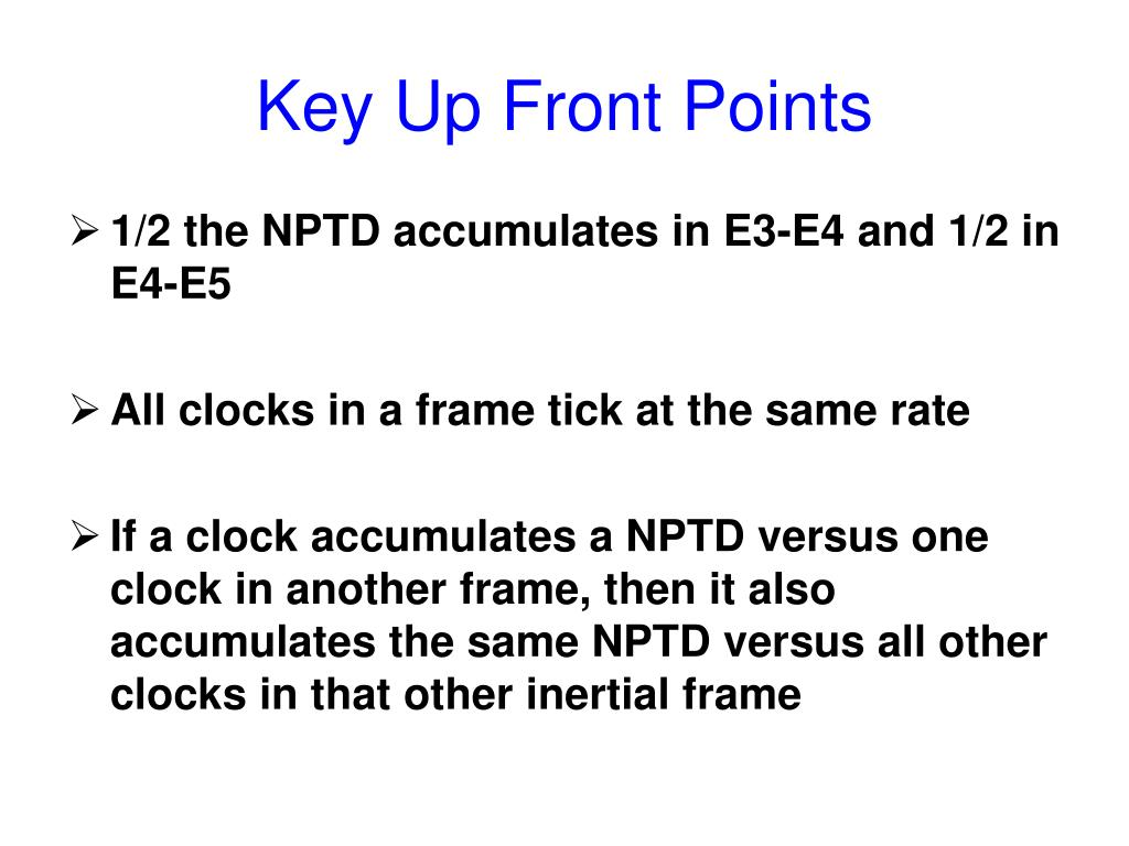 Key Up Front Points