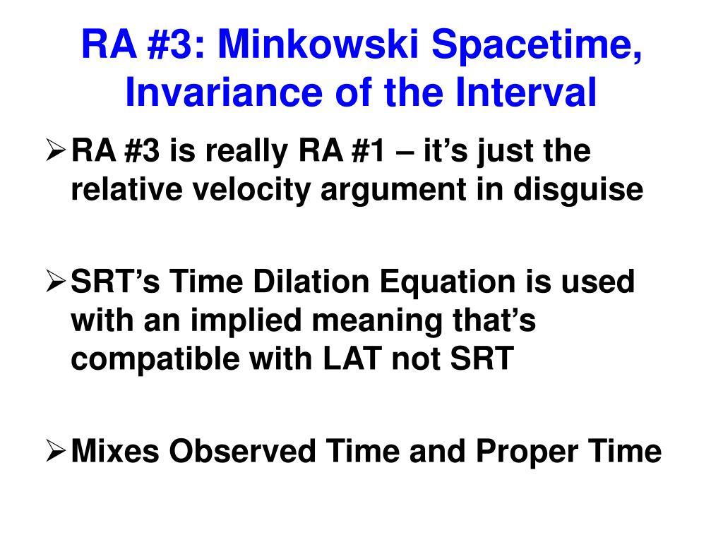 RA #3: Minkowski Spacetime, Invariance of the Interval