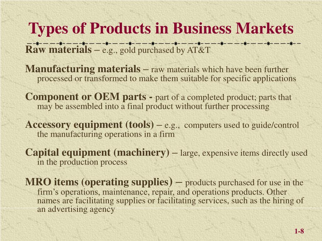 Types of Products in Business Markets
