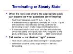terminating or steady state