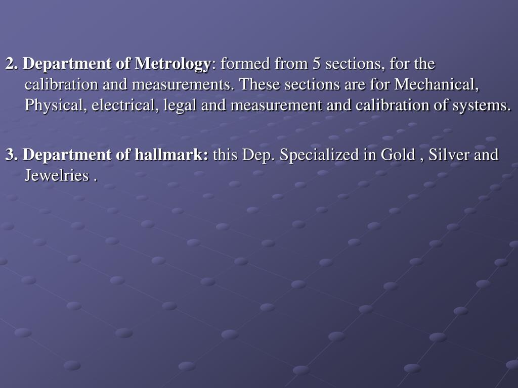 2. Department of Metrology