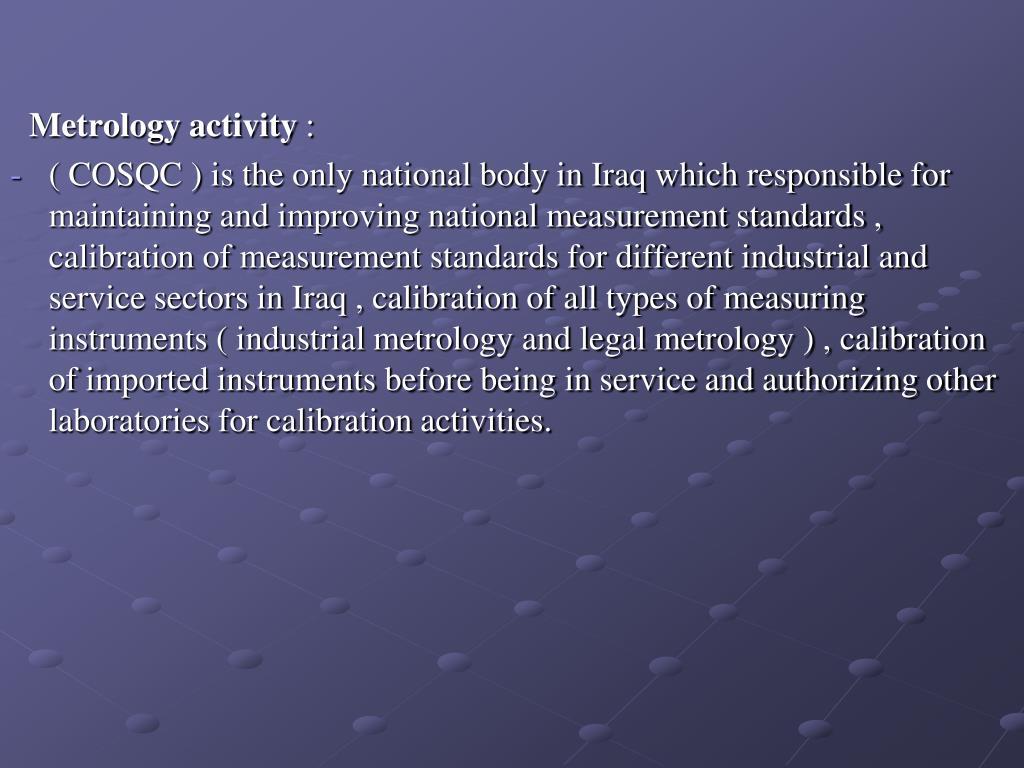 Metrology activity