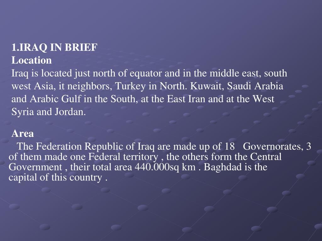 1.IRAQ IN BRIEF