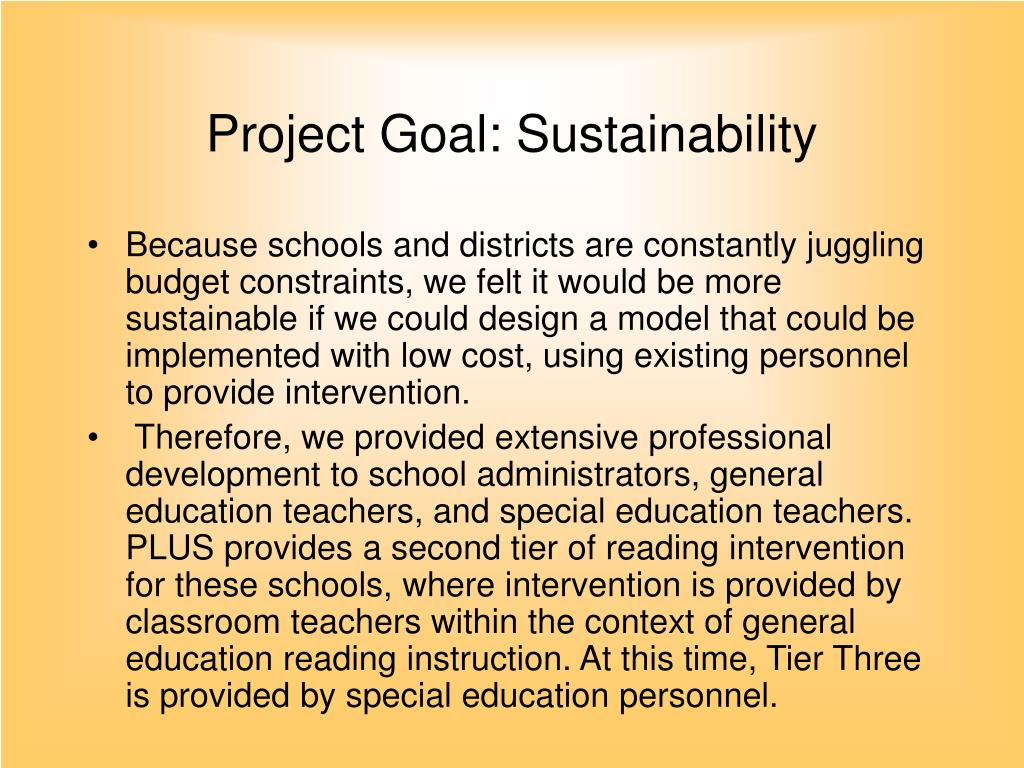 Project Goal: Sustainability
