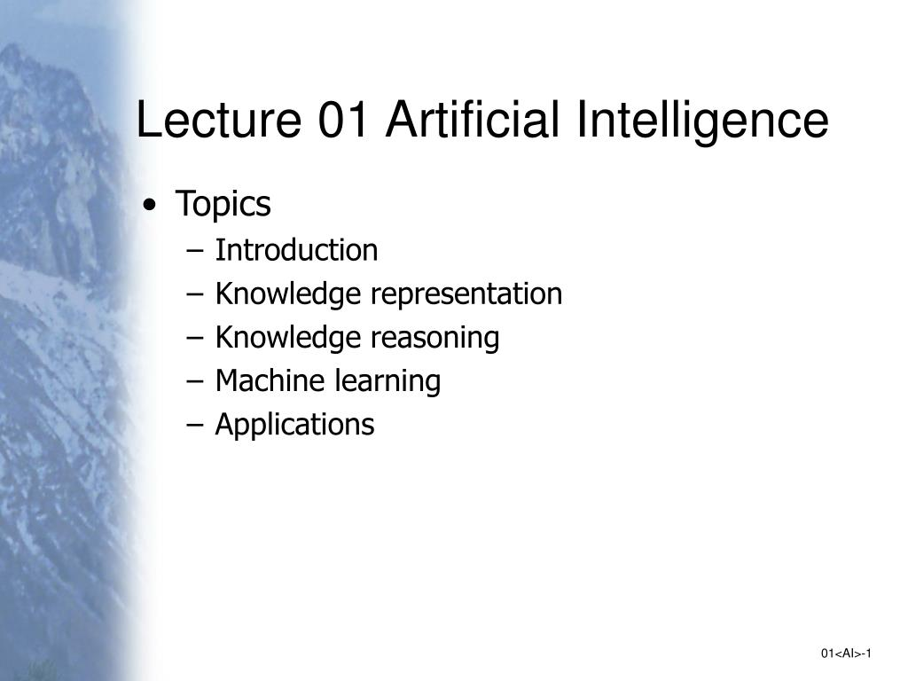 lecture 01 artificial intelligence l.