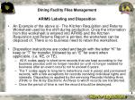 dining facility files management arims labeling and disposition