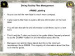 dining facility files management arims labeling9