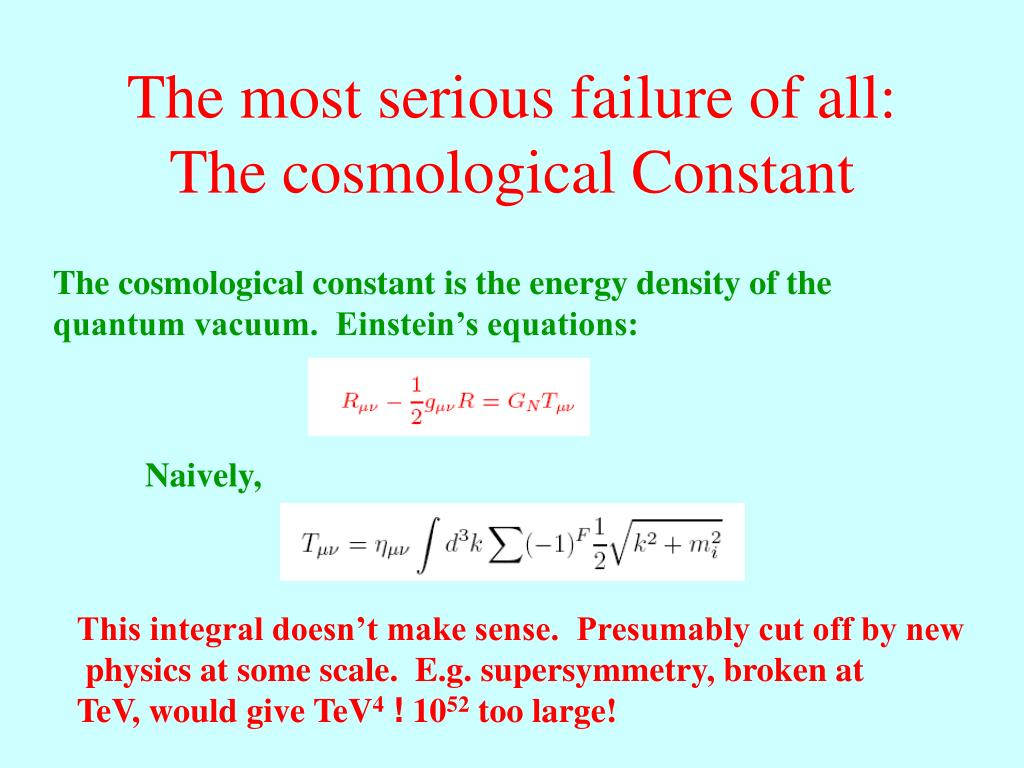 The most serious failure of all:  The cosmological Constant
