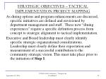 strategic objectives tactical implementation project mapping