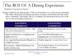 the roi of a dining experience building experience equity